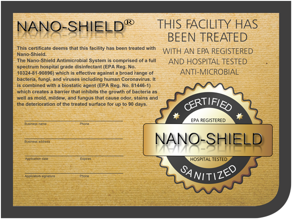 Nano-Shield Surface Protection Certificate